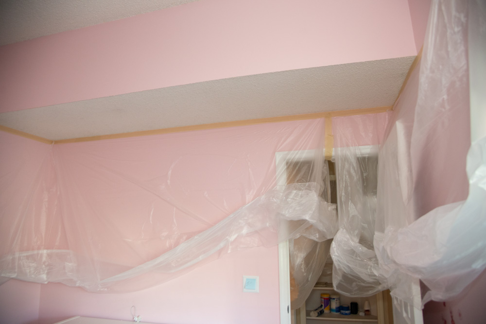 Drop Cloth Taped to Ceiling
